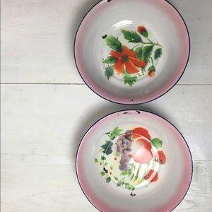 2 Vintage Chippy Enamel Floral Bowls
